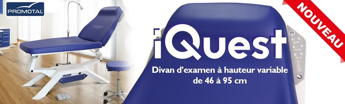 iQuest - Divan d'examen à hauteur variable de 46 à 95 cm - Vous changez les positions du divan sans aucun effort avec les commandes intuitives, intégré au dossier du fauteuil de l'iQuest